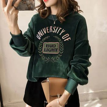 Double-sided velvet embroidery gold velvet backing long-sleeved fat MM size jacket loose jacket jacket plus cashmere thick sweat floral and animal embroidery long sleeved jacket