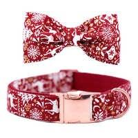 Chrismas Schneeflocke Hund oder Katze Kragen oder Leine mit Bögen Grau Dots Design mit Baumwolle Gurtband