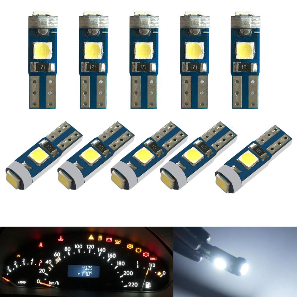 10pcs 12V Canbus T5 58 74 286 W1.2W Super Bright 3030 LED  3SMD Wedge LED Light Car Dashboard Instrument Cluster Panel Lamp Bulb