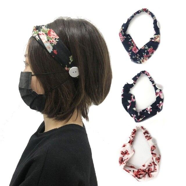Sweat Hair Bands Head Belt Flower Mask Anti-earache Girls Women Yoga Running Fitness Sports Hair Accessories 1