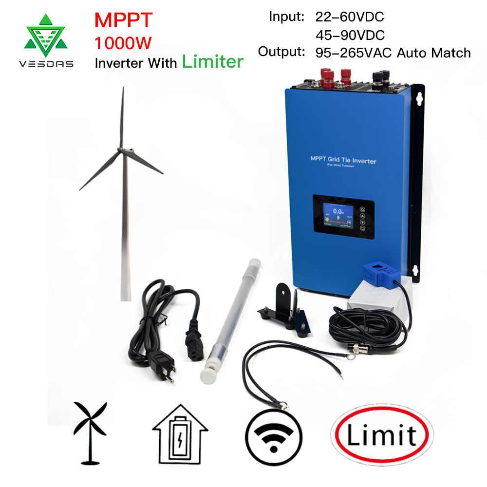 MPPT 1000W grille cravate 3 Phrase onduleur éolienne micro-onduleur onde sinusoïdale Pure avec limiteur pour générateur d'éolienne à courant alternatif 24V 48V