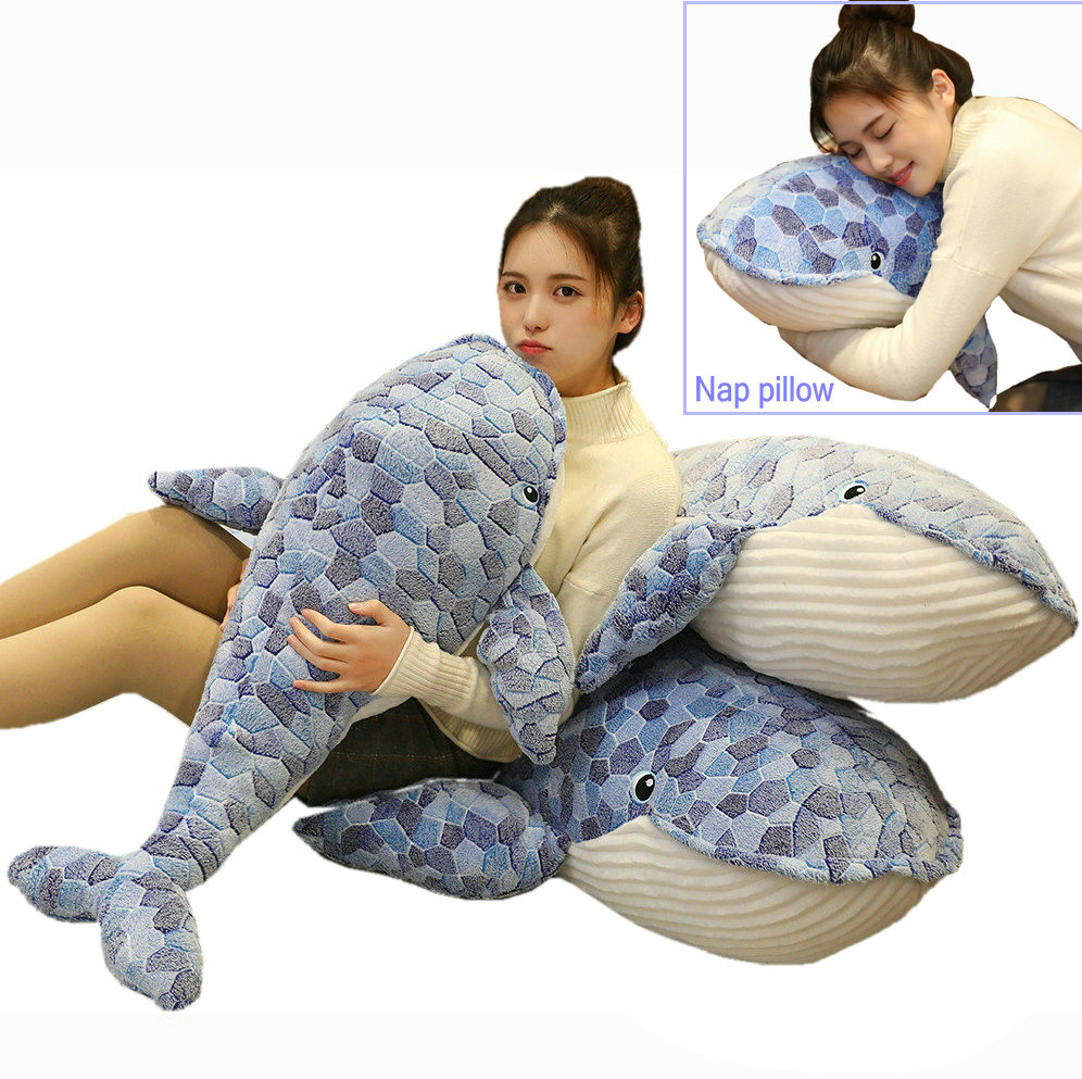 Fantastic Giant <font><b>Blue</b></font> <font><b>Whale</b></font> <font><b>Plush</b></font> toys Stuffed Sea Seal Stuffed Pillow Kids nap pillow Sea world Bed Cushion Decor Super Soft toy image