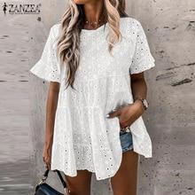 2021 ZANZEA Women's Summer Blouse Autumn Long Sleeve Shirts Female V Neck Lace Blusas Plus Size Tunic S-5XL Fashion Hollow Tops
