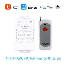 433Mhz 40A TUYA Smart Leben APP WIFI 1Gang 4000watt AC90 250V neueste version steuert high power klimaanlagen, pumpen, wasser