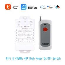 433Mhz 40A TUYA Smart Life APP WIFI 1Gang 4000 vatios AC90 250V última versión controles acondicionadores de aire de alta potencia, bombas, agua