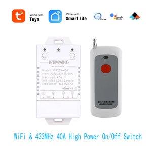 Image 1 - 433Mhz 40A TUYA Smart Life APP WIFI 1Gang 4000watts AC90 250V dernière version contrôle haute puissance climatiseurs, pompes, eau
