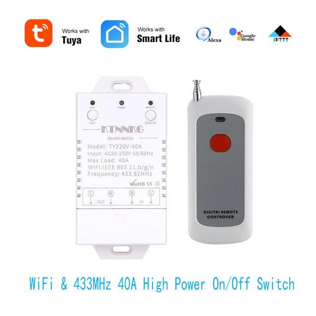 433Mhz 40A TUYA Smart Life APP WIFI 1Gang 4000watts AC90 250V dernière version contrôle haute puissance climatiseurs, pompes, eau