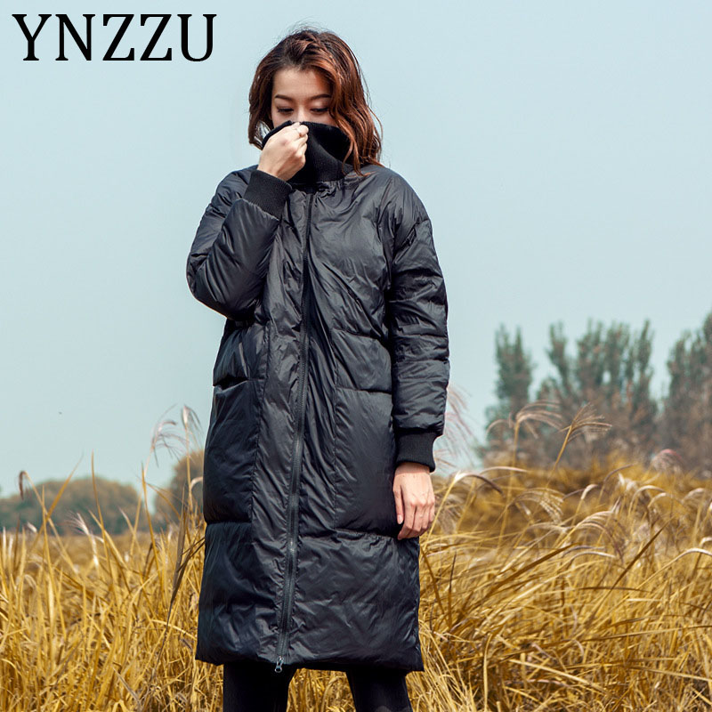 YNZZU Ribbed collar Windproof Warm Women's   Down   Jacket 2019 Winter Casual Solid Long Duck   Down     Coat   Loose Ladies Outwear A1313