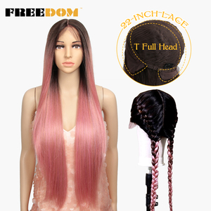 FREEDOM 22 Inch Lace Full Head Synthetic Lace Front Wigs For Women 3 COLOR Straight Braid Double Ponytail Wigs Heat Resistant(China)