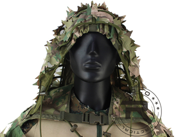 ROCOTACTICAL Tactical Ghillie Suit Breathable Ghillie Viper Hood with 3D Leafy Stripes Sniper Coat for Wargame, Hunting, CS 6