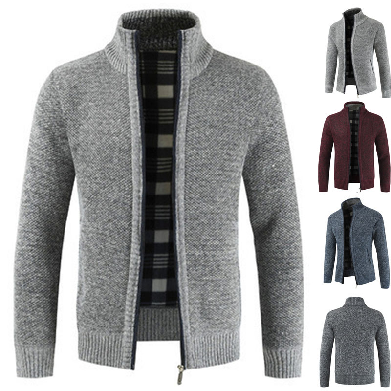 Autumn And Winter New Men's Stand Collar  With Fleece And Thickened Zipper Sweater Long Sleeve Knitted Sweater Overcoat Men's Tr