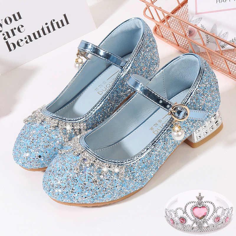 Kid Girls Princess Elsa Dress Up Party Sandals Sequin Glitter Shoes Size