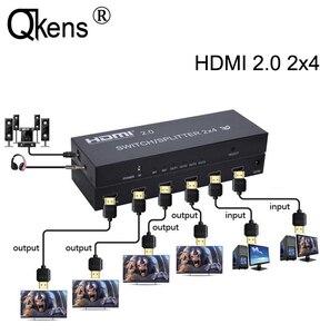 4K HDMI 2.0 2x4 przełącznik Splitter HDMI przełącznik konwerter wideo SPDIF Audio 2 w 4 wyjście dla Mi Box XBOX One X PS4 PC do telewizora