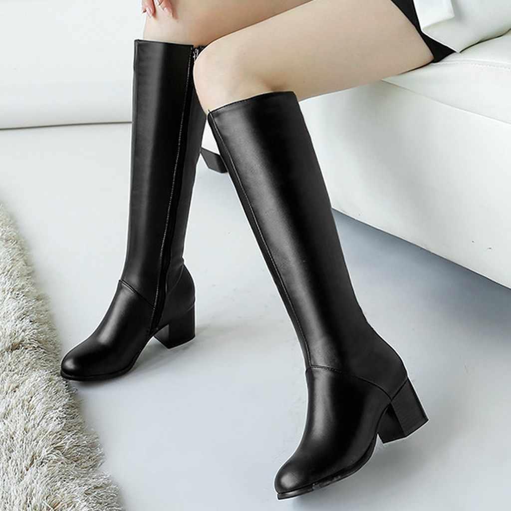 Ayakkabı kadın moda çizmeler kadınlar zapatos de mujer kadın kış sıcak çizmeler yan yuvarlak ayak kare yüksek topuklu diz yüksek patik