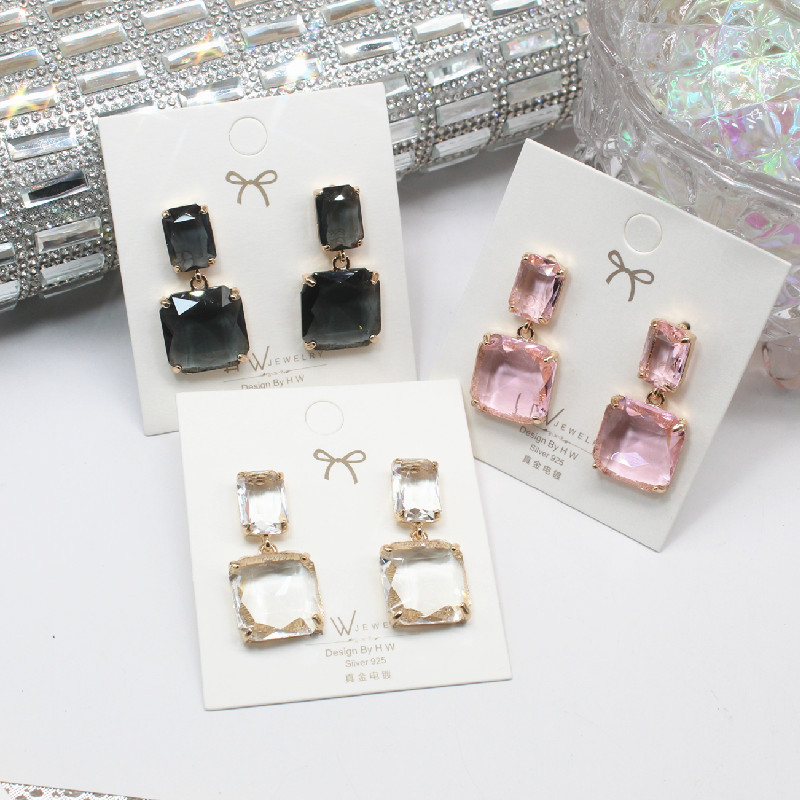 2021 Korean New Design Fashion Jewelry Double Square Earrings Luxury Transparent Glass Crystal Pearl Party Earrings Women Gifts