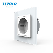 Livolo — Prise de courant murale standard UE, panneau en verre, AC ~ 250 V, 16 A, sans logo, existe en blanc, noir, gris ou doré
