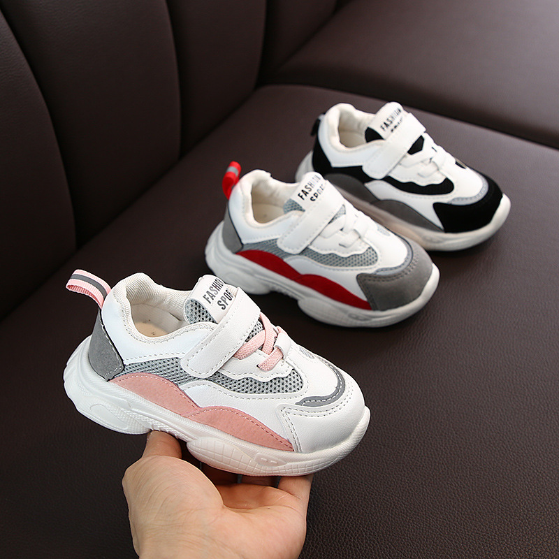 2020 Autumn Fashionable Net Breathable Purple Leisure Sport Running Shoes For Girls White Shoes For Boys Brand Kids Shoes C07051