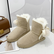 Fur Cute Snow Boots Women 2019 New Warm Womens Winter Boots Plush Suede Platform Ankle Boots Slip On Black White Boots Women gray zipper suede ankle slip on women boots