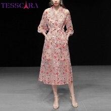 TESSCARA mujeres de lujo bordado de malla vestido de trinchera de alta calidad Cocktail Party Robe Vintage Floral diseñador abrigo largo prendas de vestir
