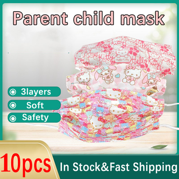 10pcs Hello Kitty Cartoon Cute Pink Face Mask 3-Layer Mascarillas Breathable Soft Girl Adult Child Kawaii Anime Kid Mouth