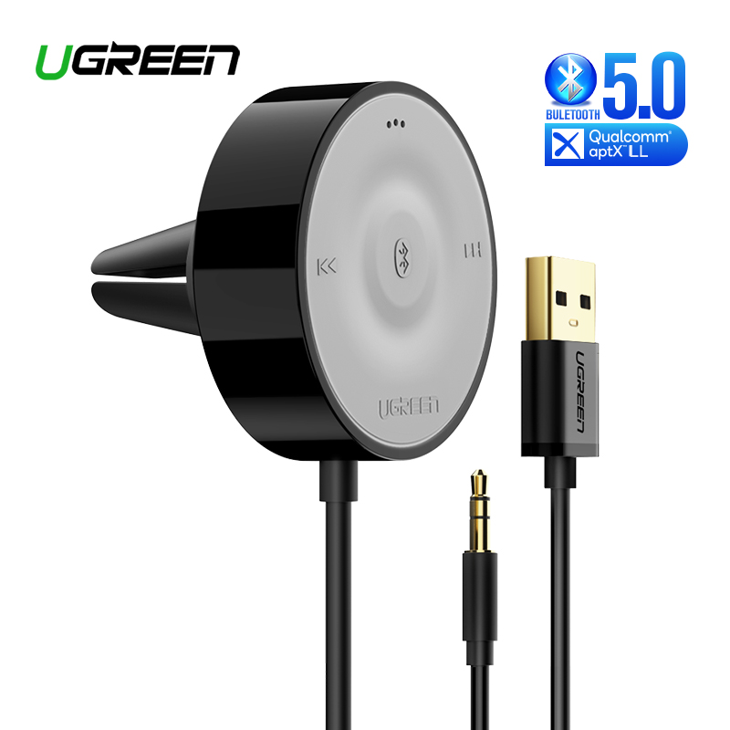 UGREEN <font><b>Bluetooth</b></font> <font><b>5.0</b></font> Car Kit Receiver aptX LL Wireless 3.5 AUX Adapter for Car Speaker <font><b>USB</b></font> <font><b>Bluetooth</b></font> 3.5mm Jack Audio Receiver image