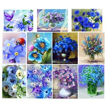 blue Flower Diamont Painting Flower 5D Diamond Mosaic Cross Stitch Kits EmbroideryDiamond Art Painting Kits(China)