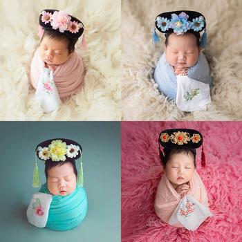 Fotografowania noworodków rekwizyty nakrycia głowy Chinoiserie mandżurski stroik niemowlę dziewczyna kapelusz z kwiatem chiński księżniczka nakrycia głowy tanie i dobre opinie HIBISCUSARA POLIESTER Akrylowe Dopasowana dla dziewczynek Floral 0-3 miesięcy SY00893 Chinese Style Newborn Baby Photography Flower Headware