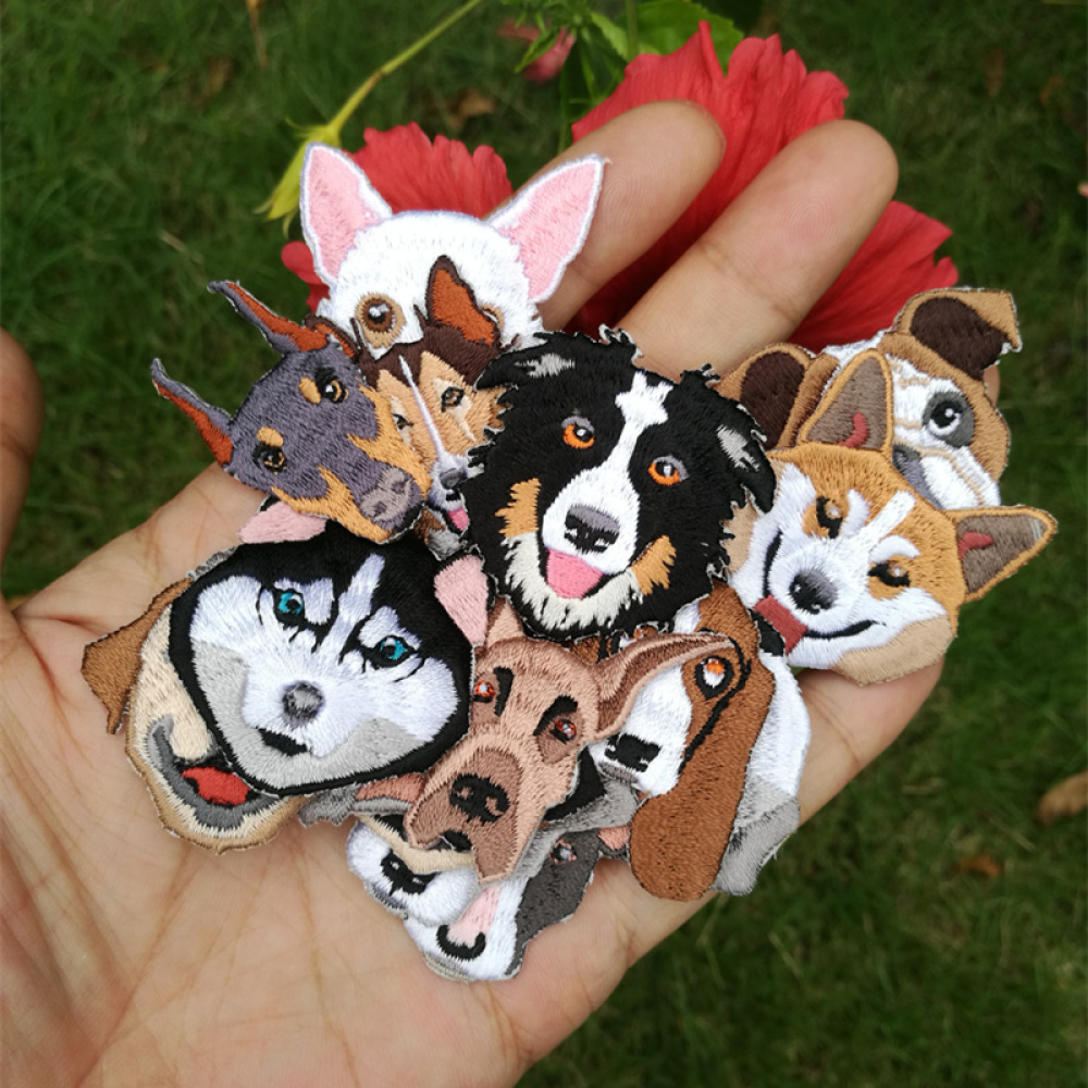 Cute Baby Pet Dog Embroidery Patch Clothes Accessories T-shirt Jacket Decorative Bag Chest Stickers DIY
