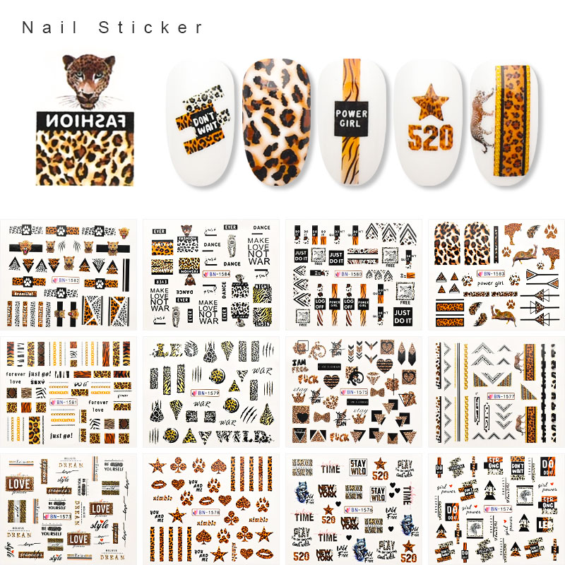 12 Pcs Stickers For Nails Water Transfer Decals Leopard Nails Stickers Manicure Set Slider For Nail Art Decorations ZJT4092