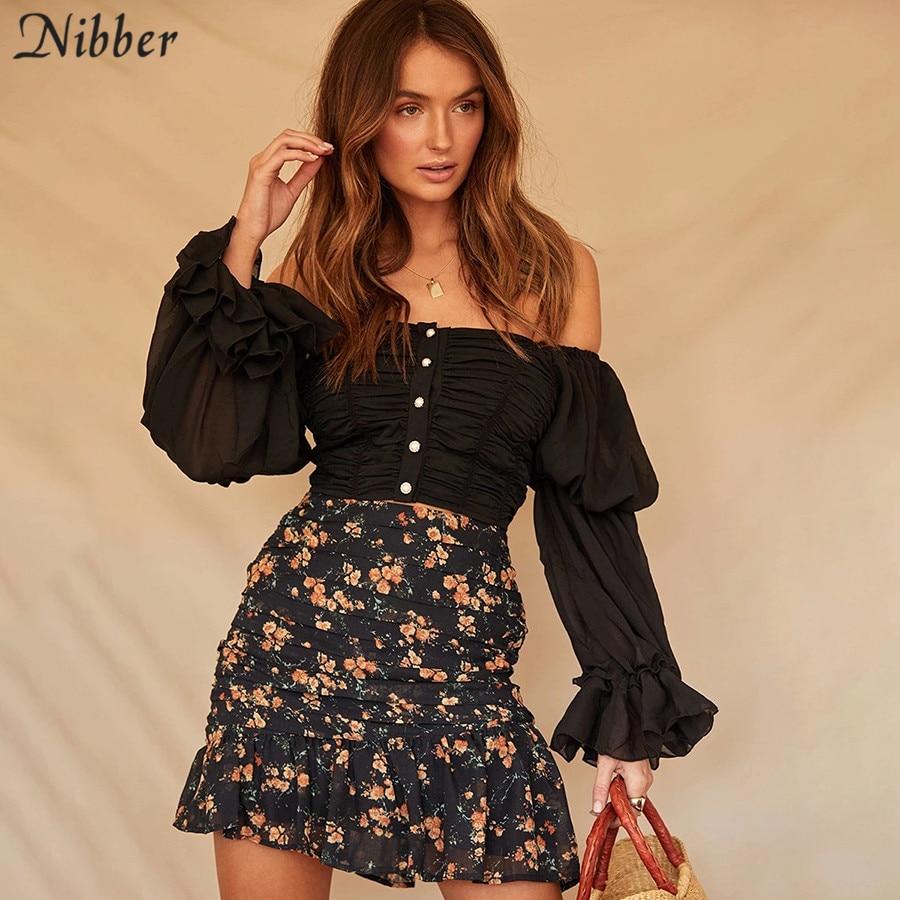 Nibber French Romantic Ruffle Tops Women Elegant Off Shoulder T-shirt 2019 High Street Leisure White Black Slim Tee Shirts Mujer