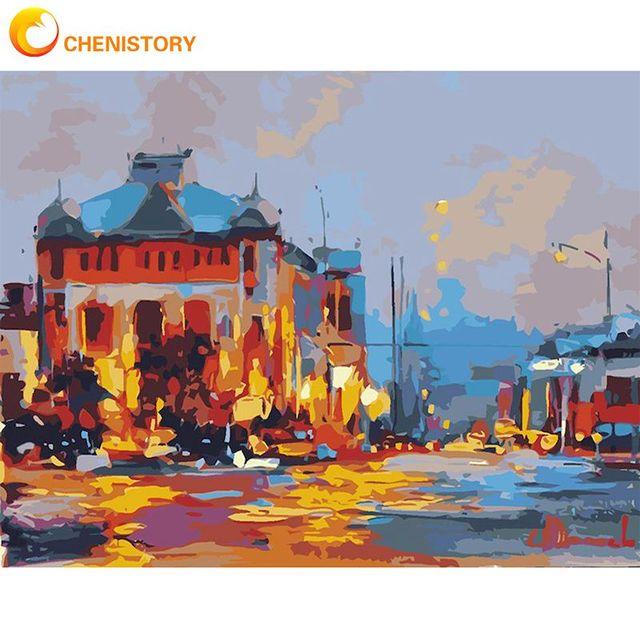 Chenistory огненный дом пейзаж масло Набор для рисования по