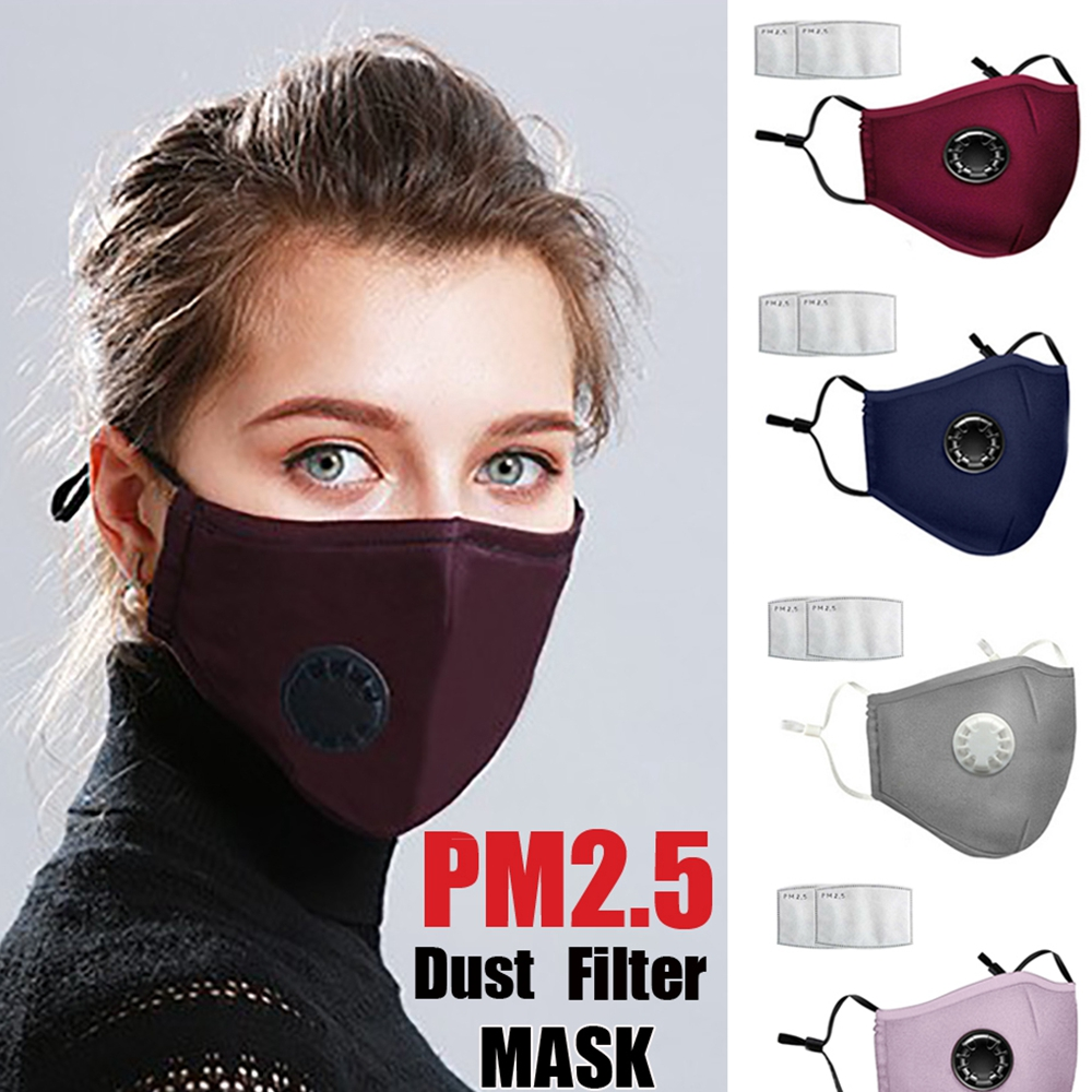 Unisex Reusable Face Protection Cover Anti-Dust W/2pc PM2.5 Filter Air Pads USA[Black Mask+2pcs Filter Pads