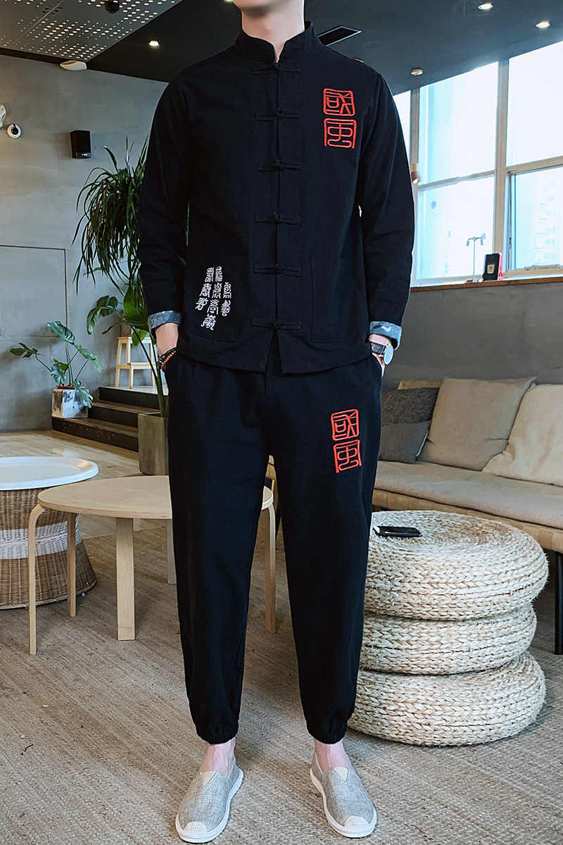 Heren Kleding 2020 Mannen Lente Man 2 Delige Set Sport Pak Jas + Broek Mannelijke Trainingspak Aziatische Size Moda Hombre