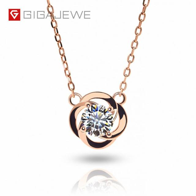 GIGAJEWE 0.5ct 5mm EF Round 18K Rose Gold Plated 925 Silver Moissanite Necklace Diamond Test Passed Jewelry Woman Girl Gift