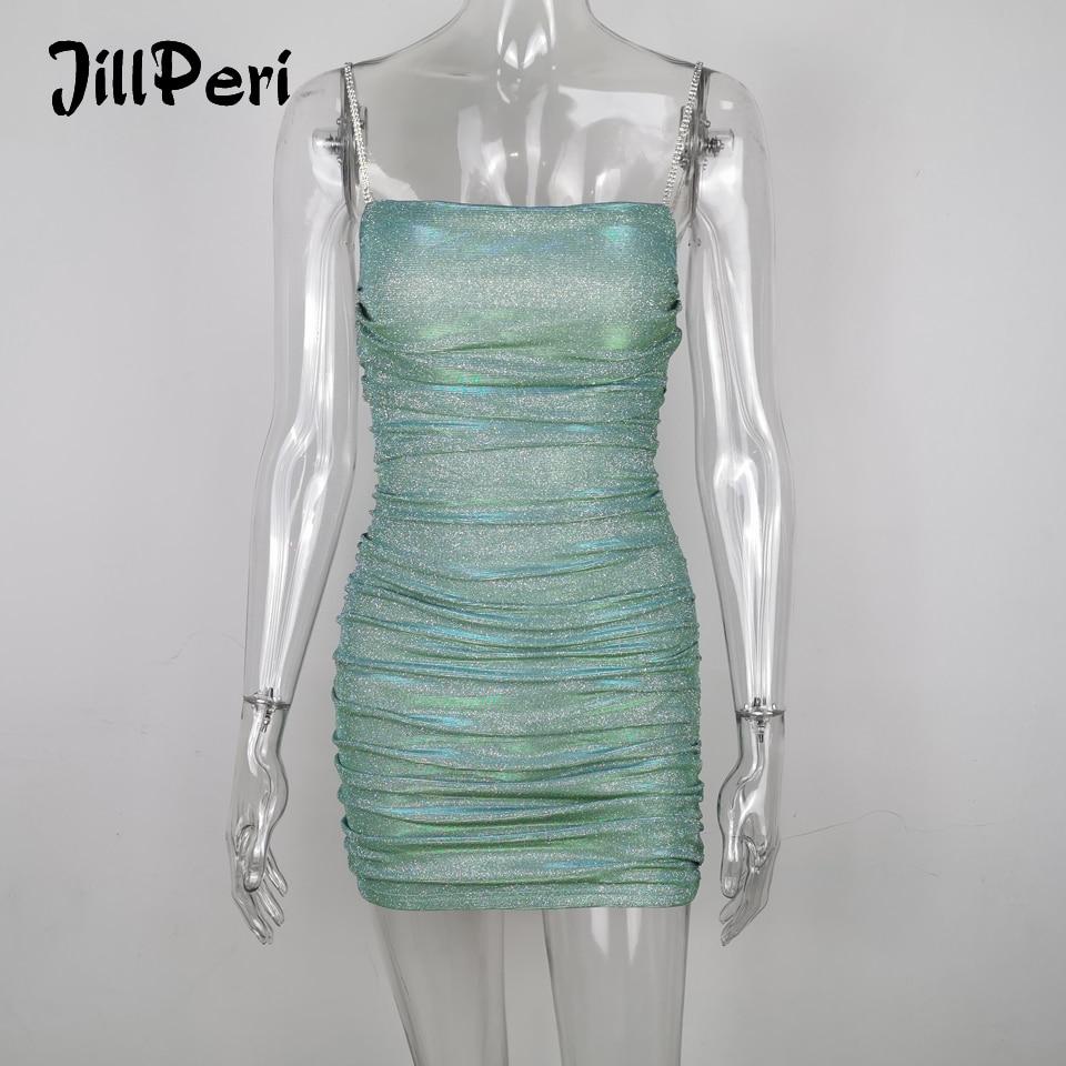JillPeri Women Slash Neck Diamond Embellished Mini Dress Sparkling Mint Ruched Club Wear Outfit Celebrity Sexy Sheath Mini Dress