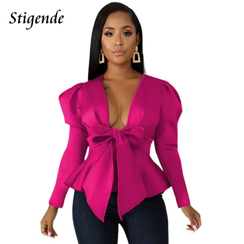 Stigende Autumn Deep V Neck Ruffle Bow Blouse Women Casual Long Sleeve Plain Cropped Blouse Shirt Elegant Solid Bandage Shirt