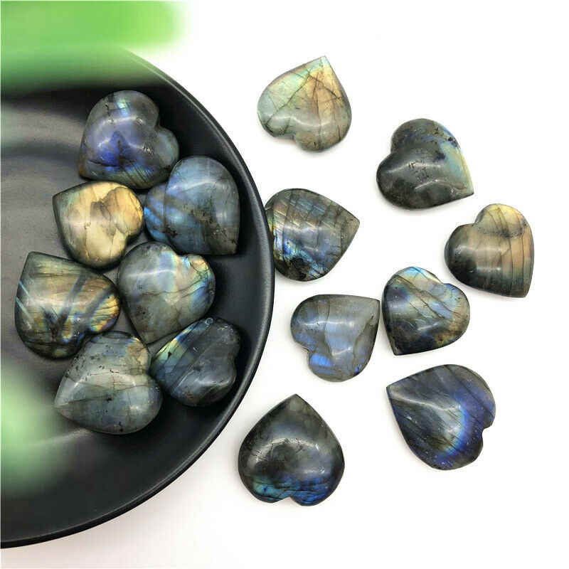 Beautiful Color Natural Labradorite Heart Shape Crystal Moonstone Tumbled Stone Reiki Healing Decor Natural Quartz Crystals