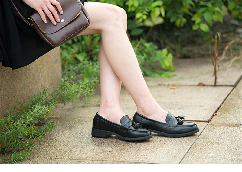 Spring Autumn New Pedal Genuine Leather Loafers Shoes Women British Polished Flat Tassel Oxford Shoes For Woman Large Size 32-43 (25)