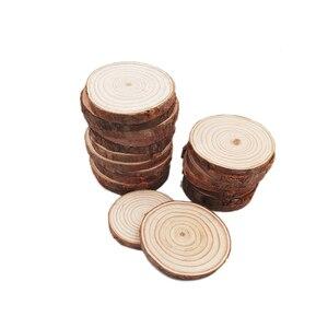 Image 4 - 100pcs 5 6cm fette di legno naturale lastre rustiche rotonde per centrotavola matrimonio tavolo festa di compleanno Baby Shower decorazione artigianale