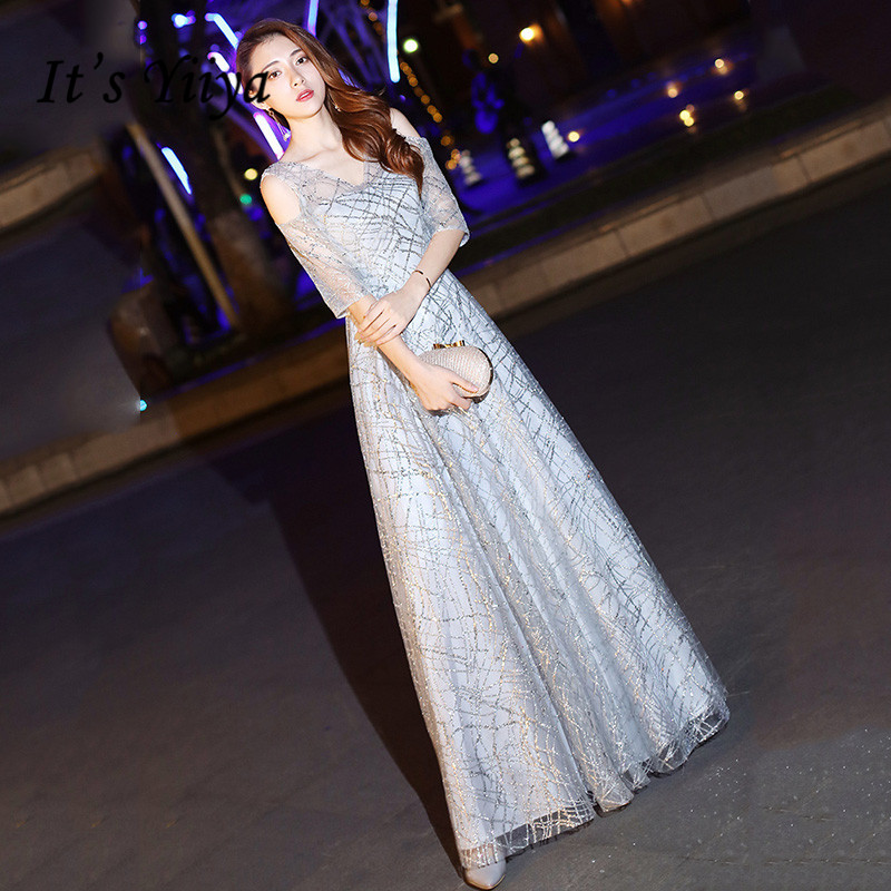 It's Yiiya Silver Shiny Sequined Evening Dresses For Women Sexy V-neck Evening Dress Long Party Gowns Vestidos Elegantes K194