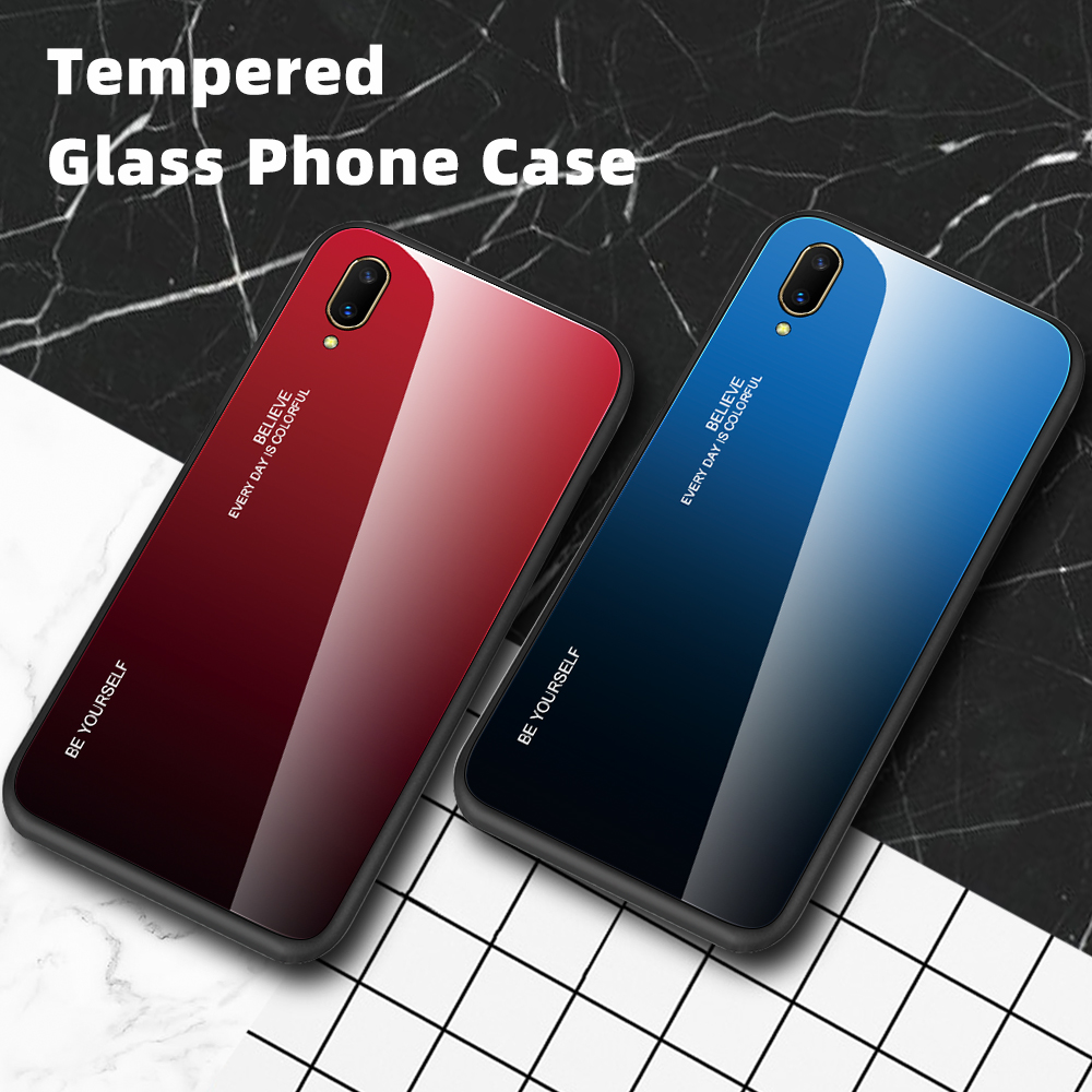Gradient Glass Phone <font><b>Case</b></font> For <font><b>Vivo</b></font> <font><b>V17</b></font> <font><b>Pro</b></font> Silicon <font><b>Case</b></font> For V11 Y83 <font><b>Pro</b></font> X23 Y75 V7 Y67 Y12 Y15 V5 Cover Coque For <font><b>Vivo</b></font> X23 <font><b>Case</b></font> image
