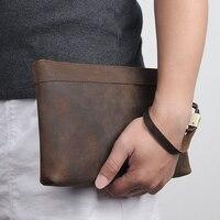 MAHEU Echtem Leder Herren Tag Kupplungen Vintage Große Hand Geldbörse RFID 6 Inch IPhone Brieftasche Rindsleder Kupplung Tasche Mit Handgelenk gürtel