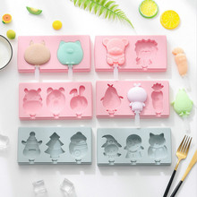 New Silicone Ice Cream Mold Popsicle Molds DIY Homemade Freezer Ice Lolly Maker Cartoon Ice Cream Popsicle Ice Pop Maker Mould 2017 new design commercial popsicle machine fruit ice lolly maker machine italian ice cream sorbet machine