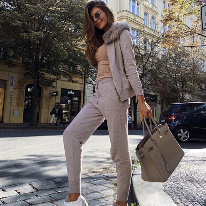 Faux fur collar hooded knit suit 2019 New women Autumn winter Long sleeves Knitted tracksuit casual pant set 2 piece set