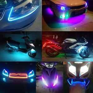 Image 5 - 1X Auto Led Strip 30Cm 60Cm 18 Modes Flexibele Kleurrijke Decoratieve Vloeiende Lamp Motor Drl Rgb Angel Eyes dagrijverlichting 12V