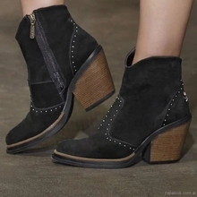 Retro Rivet Motorcycle Boots Women's Leather Ankle Boots 2019 Gothic Autumn Buckle  Low Heel Side Zipper Short Boot Cowboy Shoes prova perfetto fashion genuine leather zipper side motorcycle boots rivet stud belt buckle round toe thick bottom short boots