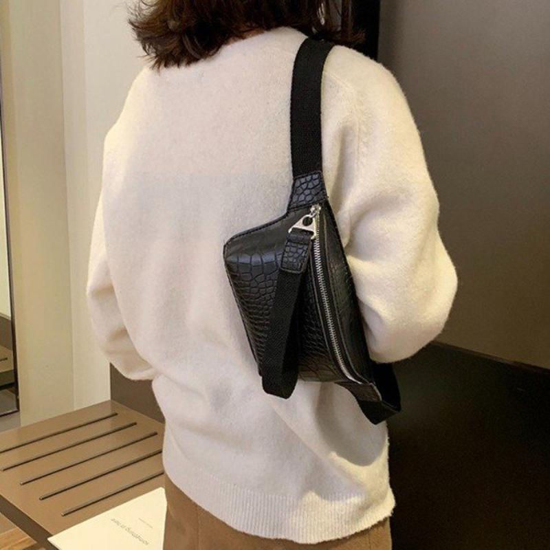 Crocodile Pattern Women's Waist Bag High Quality Belt Bags Female Shoulder Crossbody Chest Bag PU Leather Fanny Pack Hip Purse