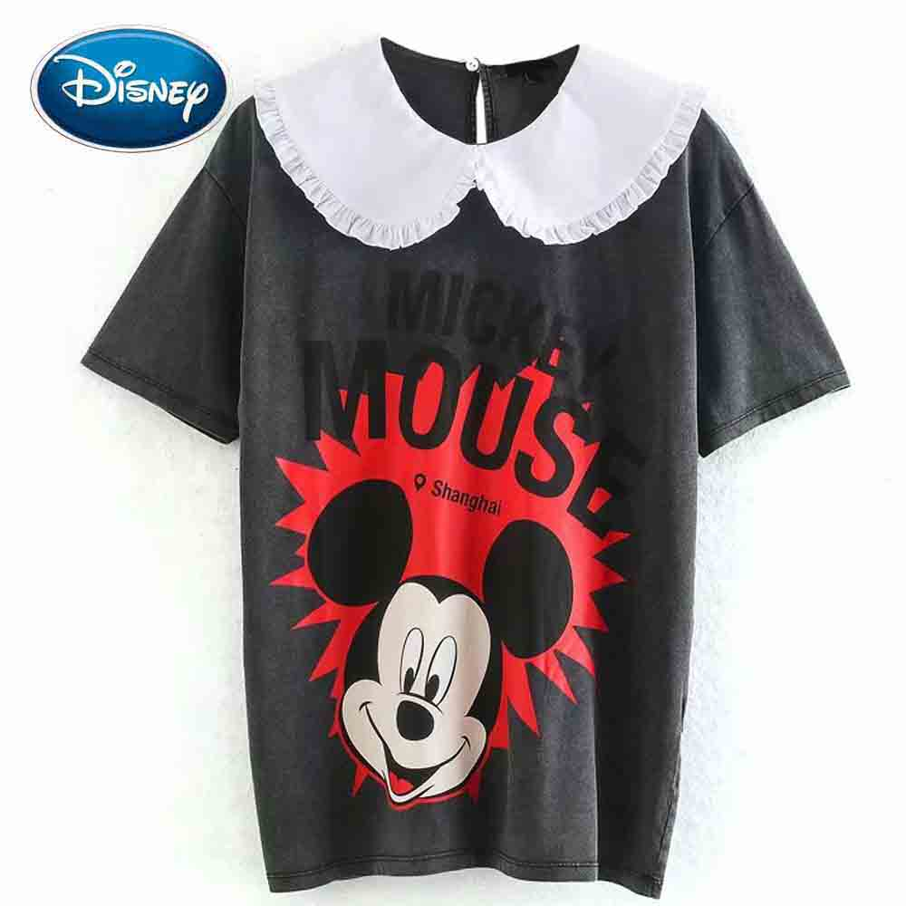 Disney Mickey Mouse Cartoon Letter Print Peter Pan Collar Pullover Splice Cute Women T-Shirt Short Sleeve Casual Loose Tee Tops