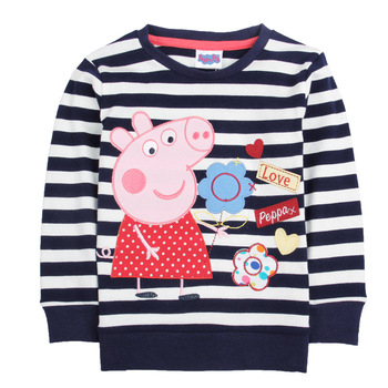 Peppa Pig Autumn Children's Clothing Cotton Child Boy Girl Black and White Striped Embroidered Girls T-shirt vertical striped flower embroidered frill shirt