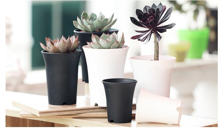 Brief Black White Flower Pot Plastic Succulent Plant Pot Thick Matt Round High Waist Flower Pot Home Garden Office Decor